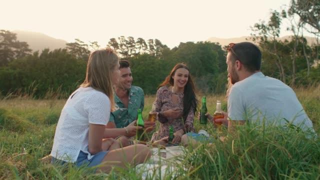 オープン フィールドでのピクニック、サンダウナー飲み物を持つ友人 - ピクニック点の映像素材/bロール