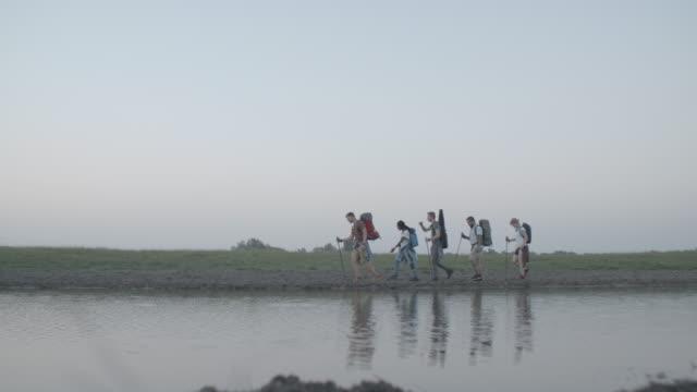 4K: Friends Hiking Together. video