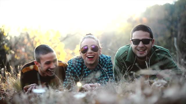 Amigos lying on grass - vídeo