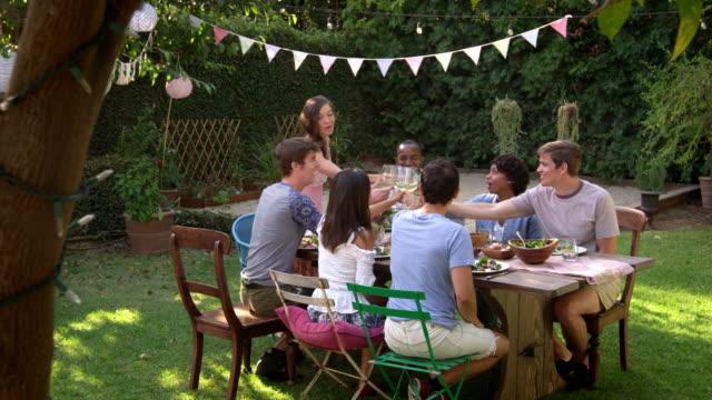 Amigos haciendo un brindis en el patio al aire libre partido tiro en R3D - vídeo
