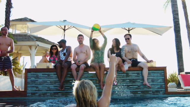 Friends Playing with Ball at Pool Party video