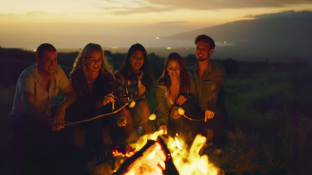 Friends Relaxing at Sunset Campfire Group of friends relaxing around campfire roasting marshmallows, sunset bonfire lifestyle marshmallow stock videos & royalty-free footage