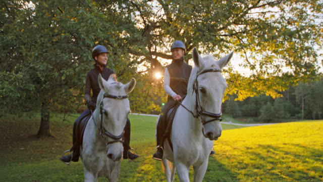 SLO MO Friends riding horses and chatting at sunset Slow motion medium dolly shot of two female friends riding horses at sunset and enjoying each others company. horseback riding stock videos & royalty-free footage