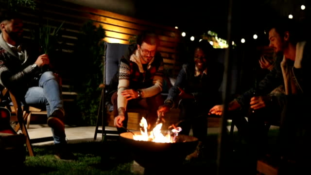 Friends roasting hot dogs on fire pit Friends roasting hot dogs on fire pit medium group of people stock videos & royalty-free footage