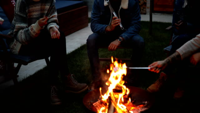 Friends roasting marshmallows on fire pit Friends roasting marshmallows on fire pit medium group of people stock videos & royalty-free footage