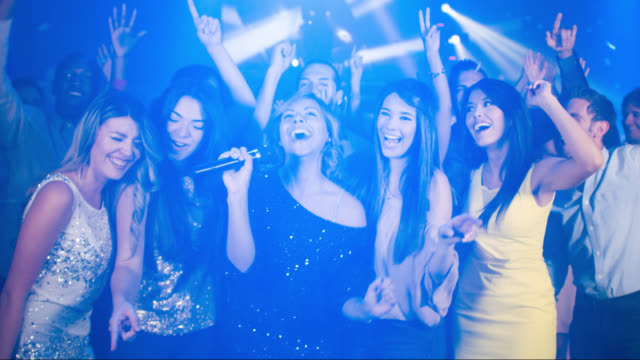 friends singing at the nightclub - bachelorette party stock videos and b-roll footage