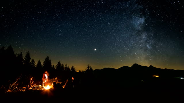 Friends sitting over campfire in starry night with milky way Time lapse video