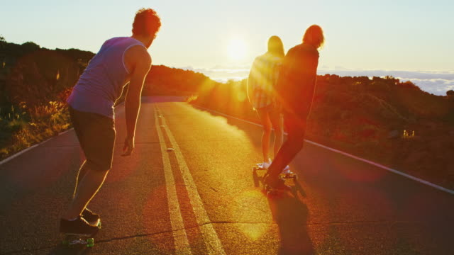 Friends Skateboarding at Sunset video
