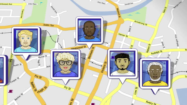 Friends social network located on map Thank you iStockvideo for choosing this as Featured Video of the Week (September 4, 2012). A diverse range of faces or Avatars pop up on a street map. Social networking, GPS tracking concepts etc. Progressive frames. HD, NTSC-D1 and Web sizes. Web sizes have choice of 16x9 or 4x3 aspect ratio (by switching between HD and NTSC standards). See also: global positioning system stock videos & royalty-free footage