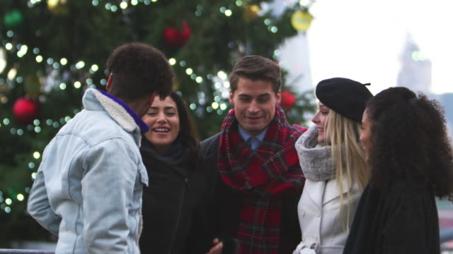 Friends Stand In Front Of Christmas Tree On South Bank In London video