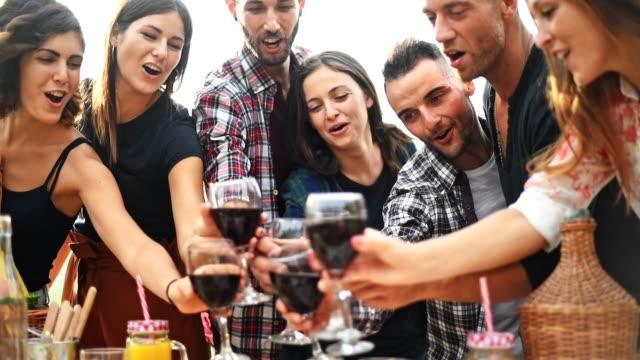 vänner rosta alla tillsammans på en bbq - vin sommar fest bildbanksvideor och videomaterial från bakom kulisserna