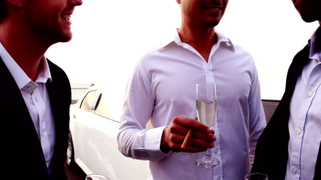 Friends toasting flutes of champagne Friends toasting flutes of champagne next to the limo luxury car stock videos & royalty-free footage