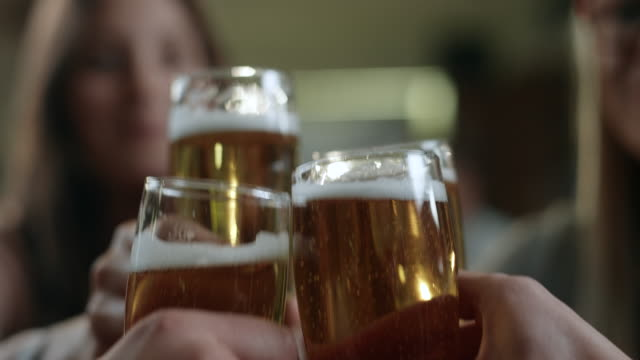 Friends toasting with beer in cafe video