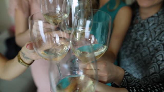 vänner rosta med champagne glasögon - vitt vin glas bildbanksvideor och videomaterial från bakom kulisserna