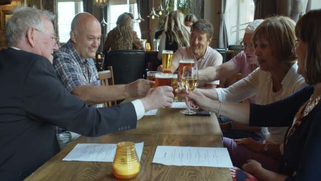 friends toasting with drinks in pub - happy hour video stock e b–roll