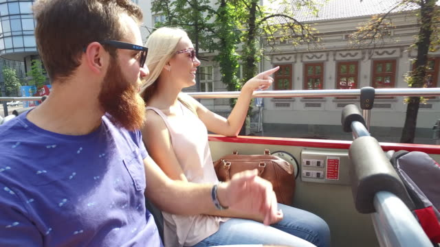 Friends traveling by tour bus video