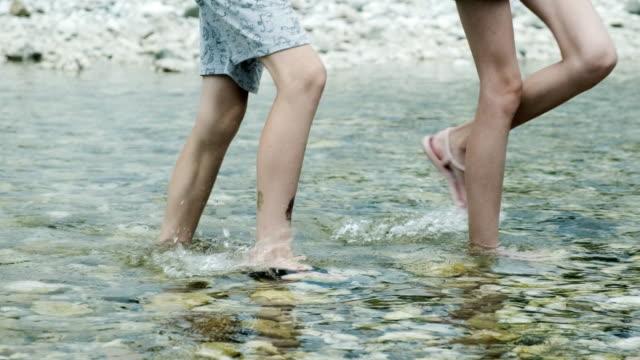 Friends walking in the river