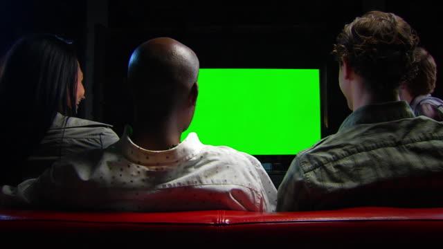 Friends Watch Chromakey TV - Locked Wide Shot video