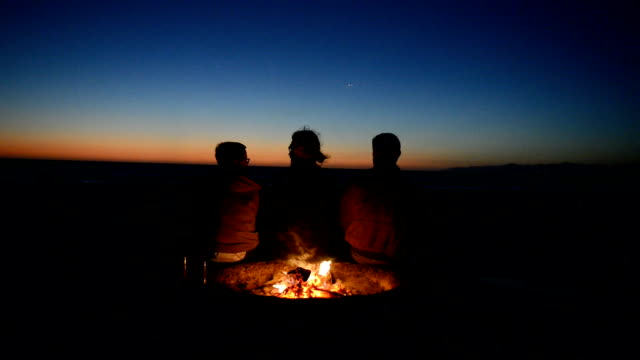 Friends Watching the Sunset at Beach Bonfire video