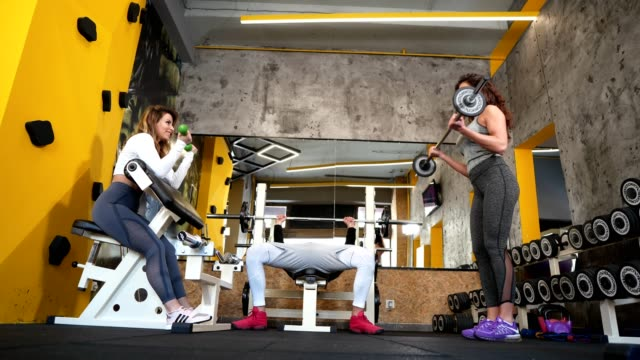 Friends working out together in the gym
