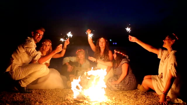 Friends,fire and sparklers - video