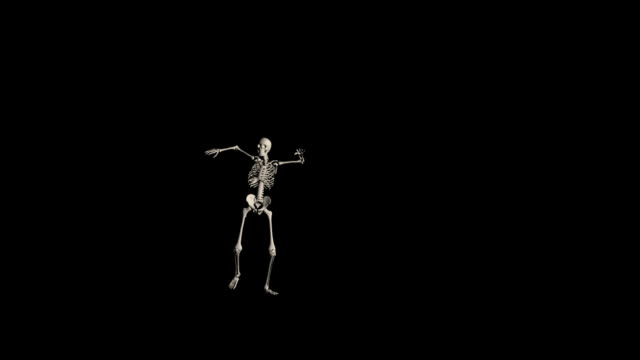 Frightful Skeleton Walk HD1080 Skeleton coming at you with flailing movements, walking past the camera. side lit stock videos & royalty-free footage