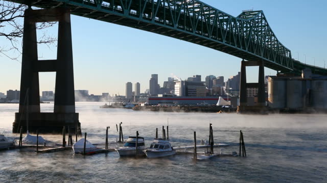 Frigid Morning Mist on the Mystic River in Boston video