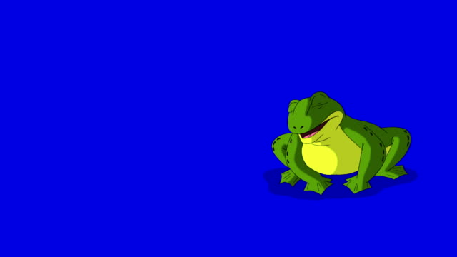 Frog Croaking and Jumping isolated on Blue Screen Frog Croaking and Jumping. Animated footage, animal isolated on a blue screen chroma key frog stock videos & royalty-free footage