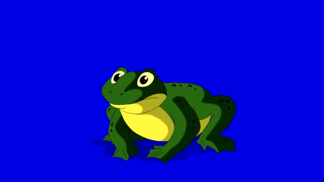 Frog Croaking isolated on Blue Screen Frog Croaking.  Animated footage, animal isolated on a blue  screen chroma key amphibian stock videos & royalty-free footage
