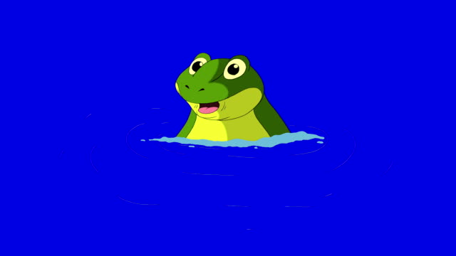 Frog Diving into the Water isolated on Blue Screen Frog Diving into the Water.  Animated footage, animal isolated on a blue screen chroma key amphibian stock videos & royalty-free footage