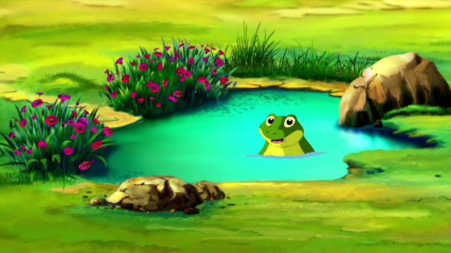 Frog in the Small Pond Green Frog diving in the small Pond  in a Summer day. Handmade animation,  motion graphic. amphibian stock videos & royalty-free footage