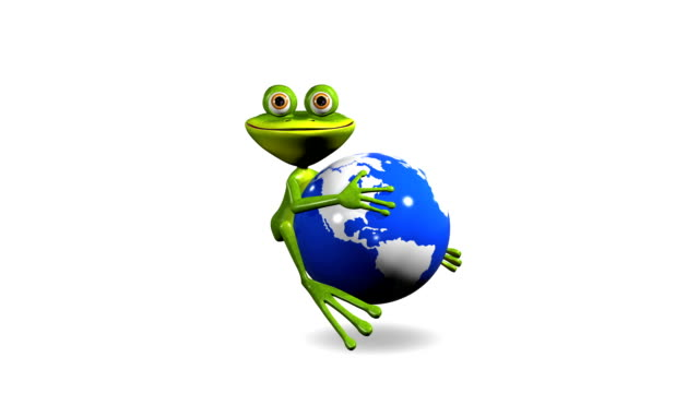 frog on globe animation merry green frog on a blue globe gecko stock videos & royalty-free footage