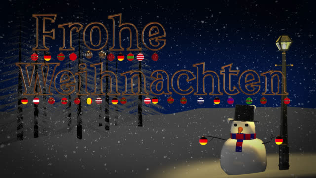 Frohe Weihnachten greeting with snowman and old gas lamp video