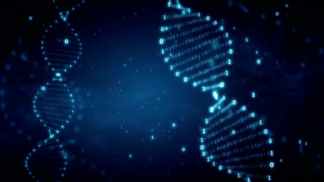 vídeos de stock e filmes b-roll de dna from a binary code on a blue background with smoke - hélice formas geométricas