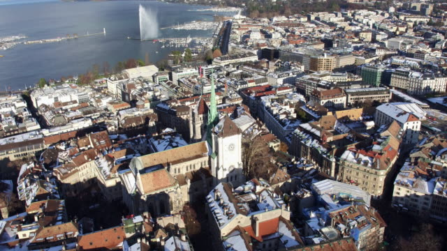 From aerial view of Geneva old town and church