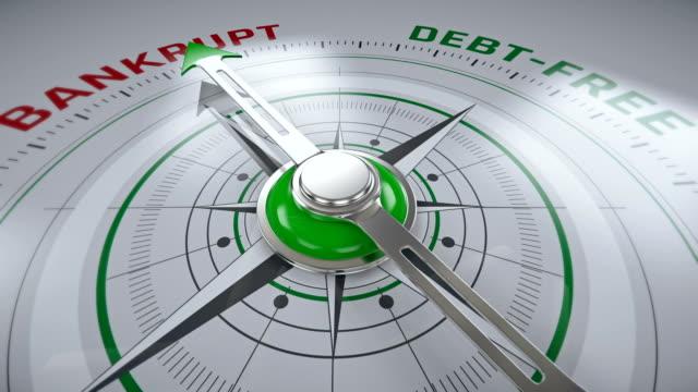 Du failli pour dettes, boussole flèche change de direction, concept d'entreprise - Vidéo