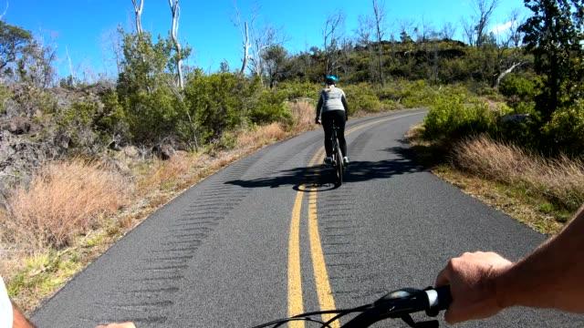 pov from bicyclist moving along rural road, forest - albero spoglio video stock e b–roll