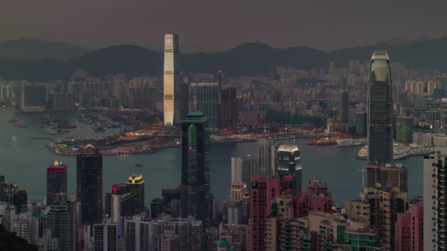 from day till night beautiful panorama 4k time lapse from hong kong video