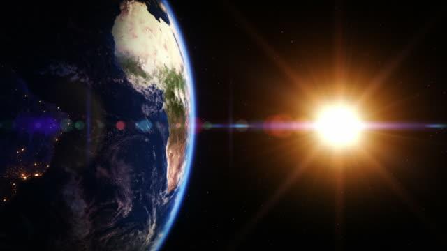 dal giorno alla notte, filatura terra. emisfero sud. loopable. - orbitare video stock e b–roll