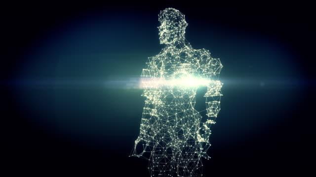 vídeos de stock, filmes e b-roll de de dna para figura humana-4k versão escura - evolução