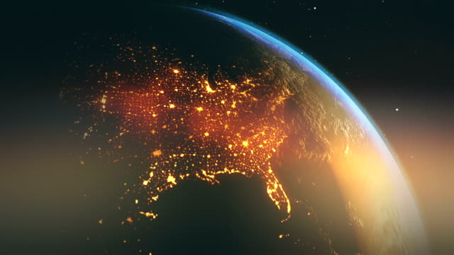 USA from night to day flyby Journey around the globe starting at midnight in US and ending at noon. Images: NASA north america stock videos & royalty-free footage