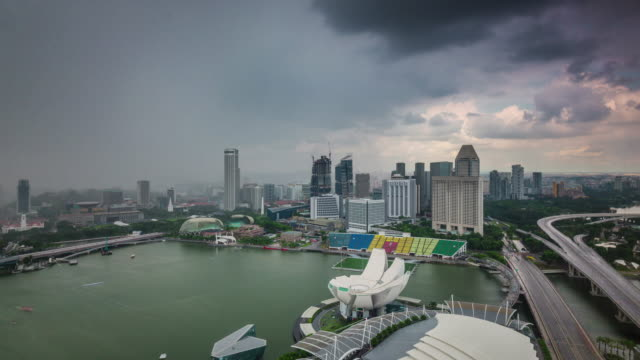 from rainy to sunny sky singapore famous hotel view 4k time lapse video