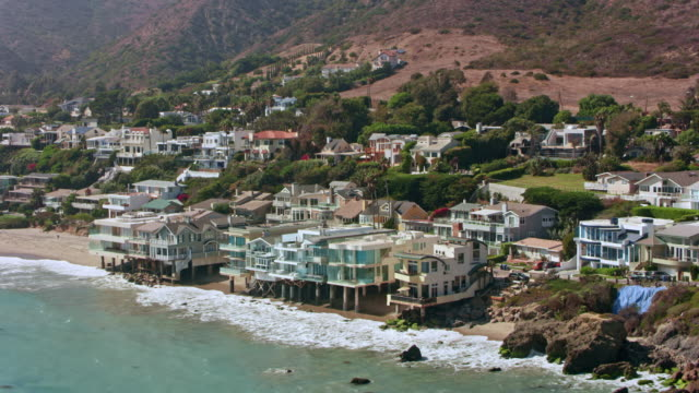 AERIAL From the beach in Malibu towards the mountains