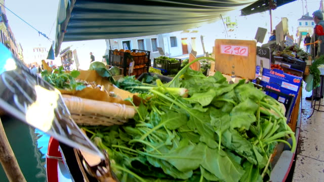 From the bottom of the boat with vegetables in Venice Italy video