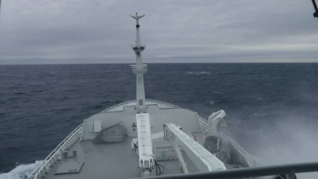From the bridge of a fishing boat in a stormy sea video