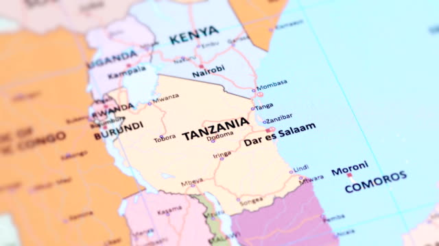 AFRICA TANZANIA from World Map tracking to REPUBLIC OF DEMOCRACTIC CONGO from World Map tanzania stock videos & royalty-free footage