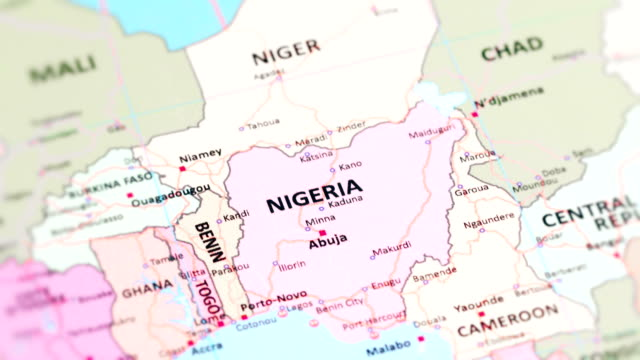 africa nigeria from world map - nigeria video stock e b–roll