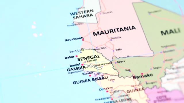 africa senegal from world map - dakar video stock e b–roll