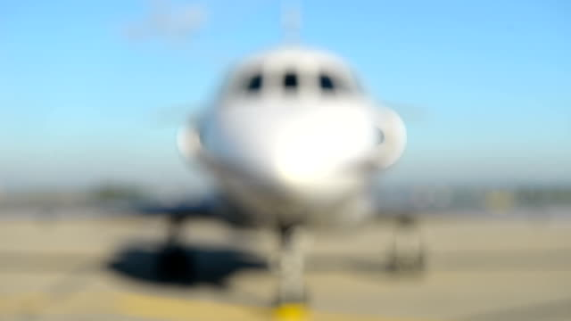 Front Close-up of a private jet airplane video