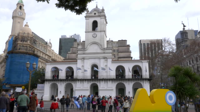 Front of Historic colonial council building in May square, bicentennial independence day celebrations video